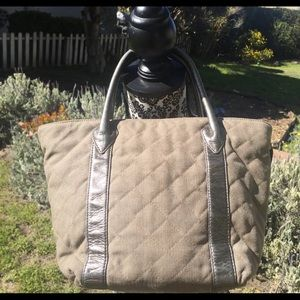 Taupe MZ Wallace Quilted Metro Small Canvas Tote